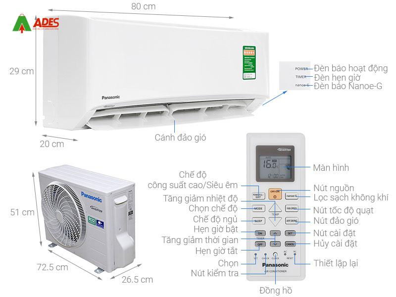 Dieu hoa Panasonic Inverter 1 HP CU/CS-PU9VKH-8